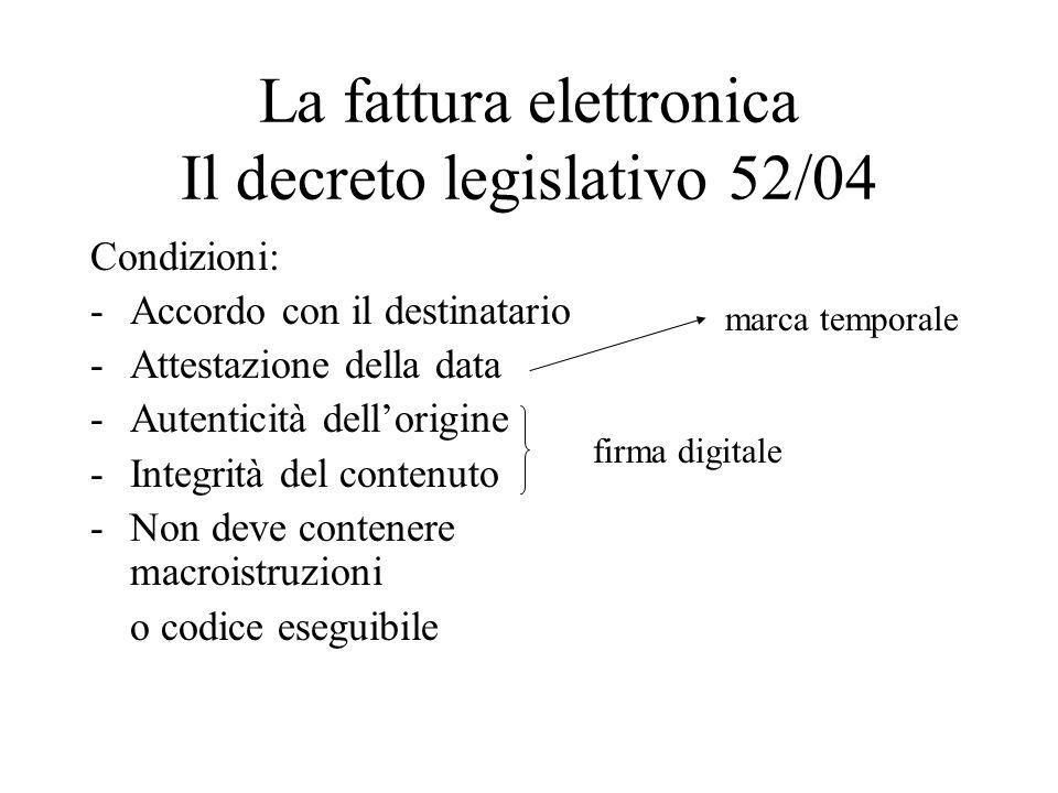 La fattura elettronica Il decreto legislativo 52/04 Condizioni: -Accordo con il destinatario -Attestazione della data -Autenticità dellorigine -Integr