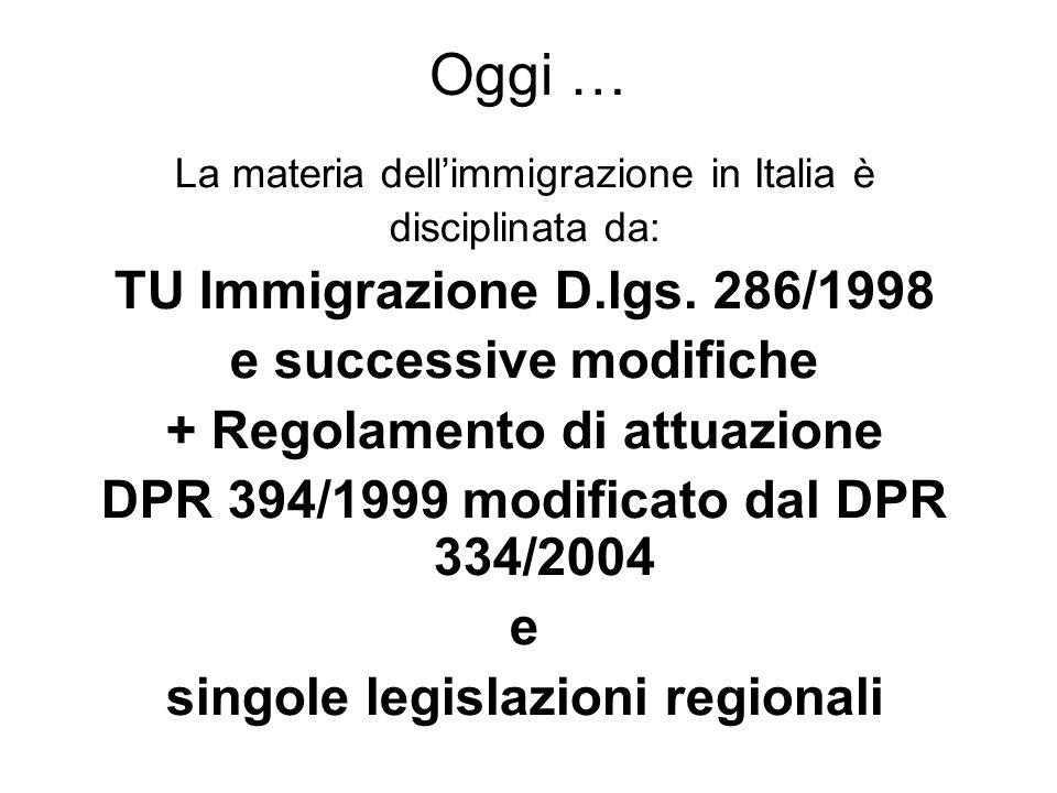 Oggi … La materia dellimmigrazione in Italia è disciplinata da: TU Immigrazione D.lgs.