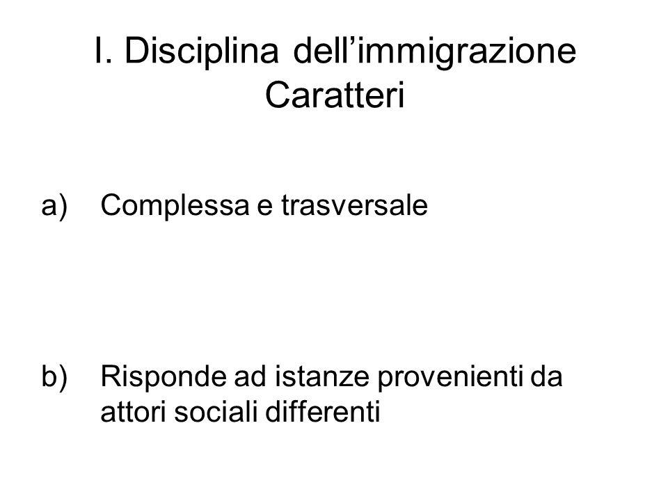 I. Disciplina dellimmigrazione Caratteri a)Complessa e trasversale b)Risponde ad istanze provenienti da attori sociali differenti