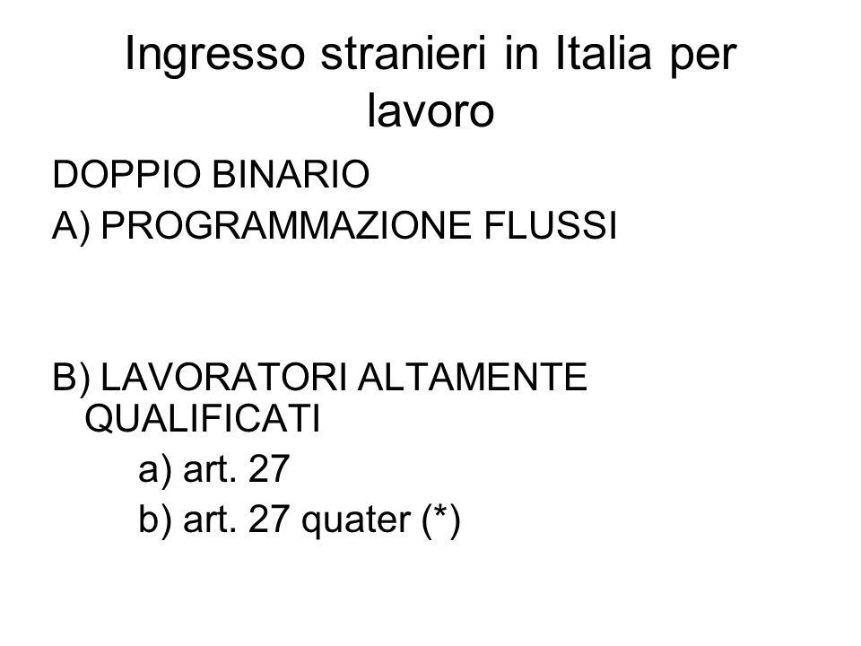 Ingresso stranieri in Italia per lavoro DOPPIO BINARIO A) PROGRAMMAZIONE FLUSSI B) LAVORATORI ALTAMENTE QUALIFICATI a) art.