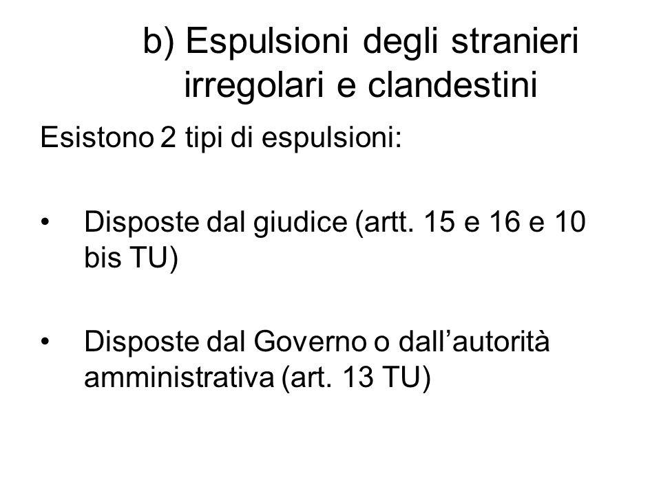 b) Espulsioni degli stranieri irregolari e clandestini Esistono 2 tipi di espulsioni: Disposte dal giudice (artt.