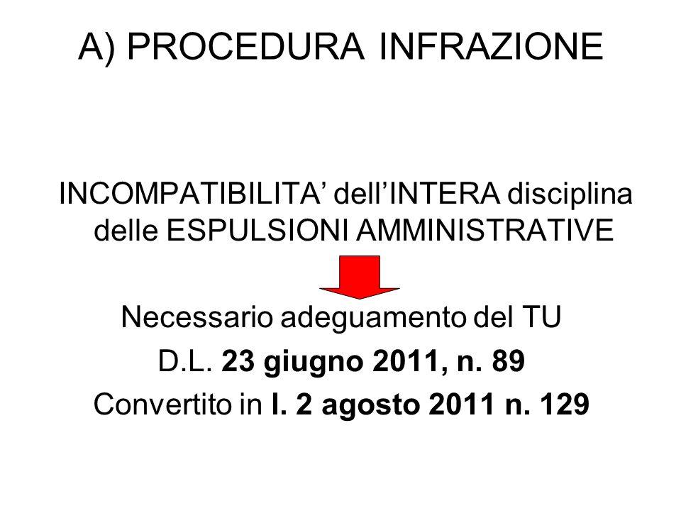 A) PROCEDURA INFRAZIONE INCOMPATIBILITA dellINTERA disciplina delle ESPULSIONI AMMINISTRATIVE Necessario adeguamento del TU D.L.