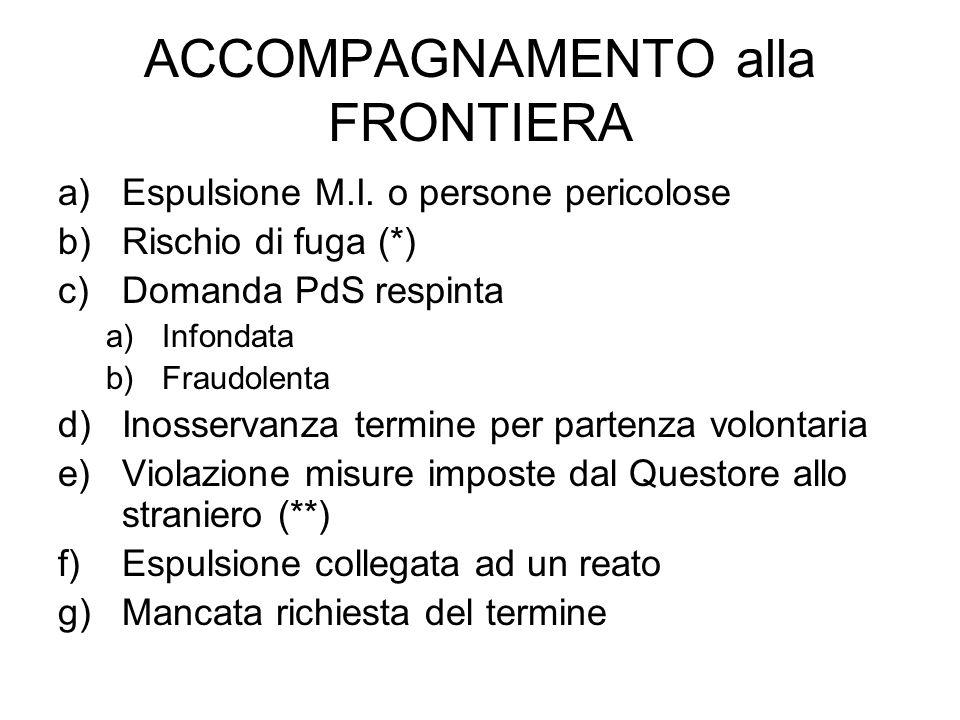 ACCOMPAGNAMENTO alla FRONTIERA a)Espulsione M.I.