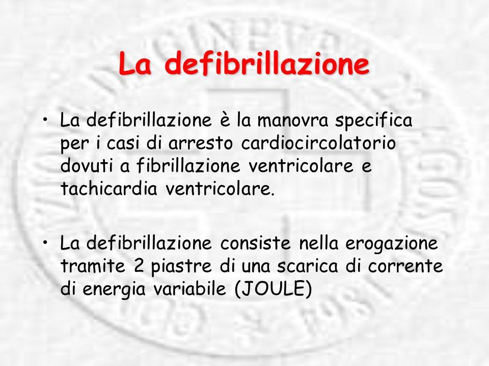 La defibrillazione La defibrillazione è la manovra specifica per i casi di arresto cardiocircolatorio dovuti a fibrillazione ventricolare e tachicardia ventricolare.