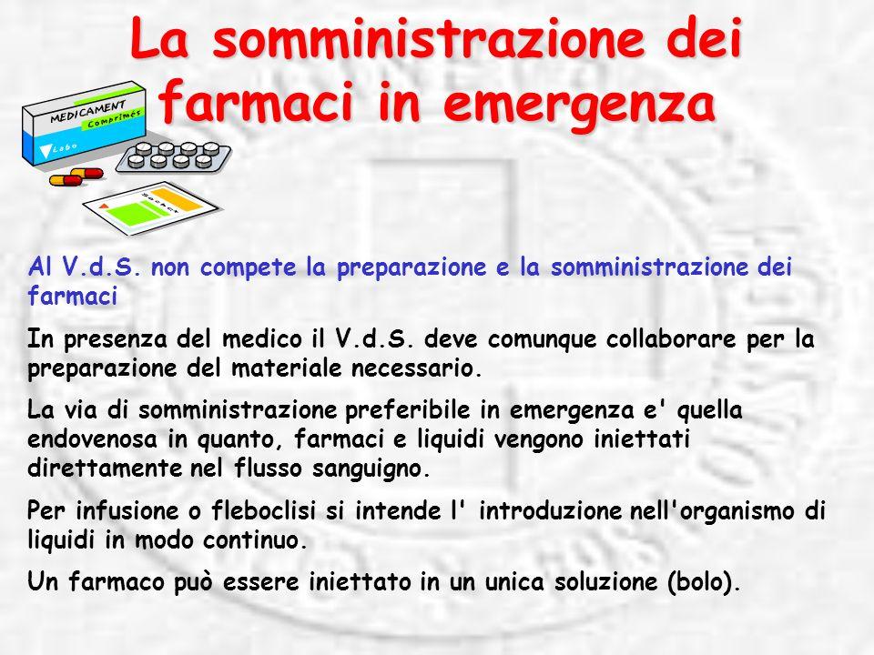 La somministrazione dei farmaci in emergenza Al V.d.S.