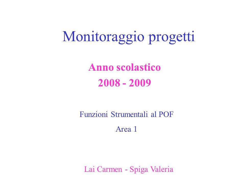 Monitoraggio progetti Anno scolastico 2008 - 2009 Funzioni Strumentali al POF Area 1 Lai Carmen - Spiga Valeria