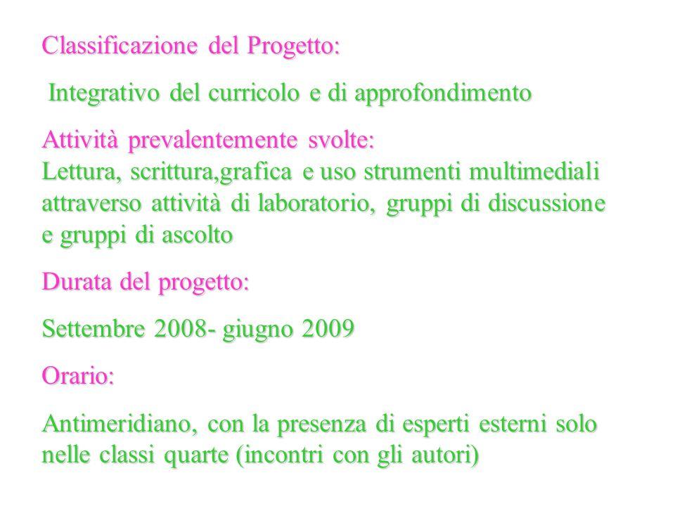 Classificazione del Progetto: Integrativo del curricolo e di approfondimento Integrativo del curricolo e di approfondimento Attività prevalentemente s