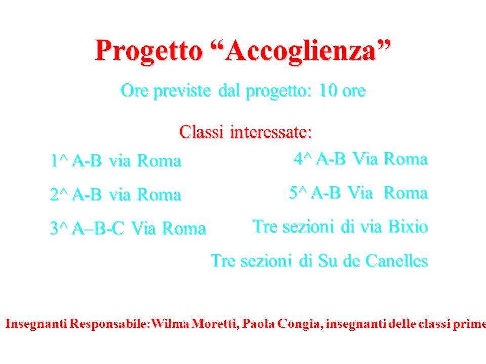 Progetto Accoglienza Ore previste dal progetto: 10 ore 1^ A-B via Roma 2^ A-B via Roma 3^ A–B-C Via Roma 4^ A-B Via Roma 5^ A-B Via Roma Tre sezioni d