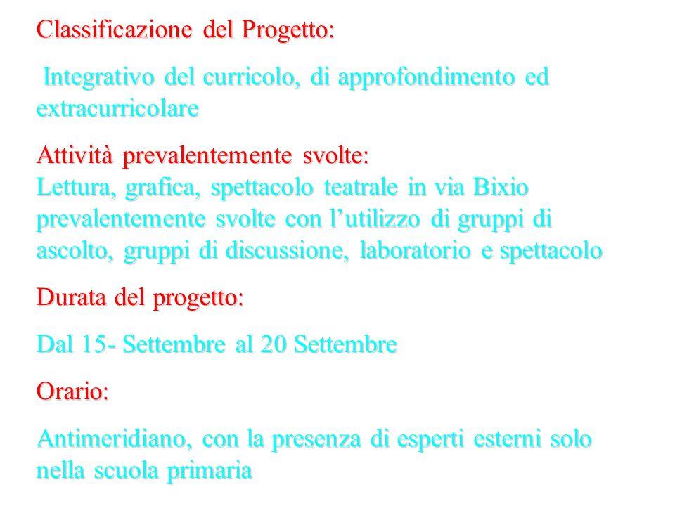 Classificazione del Progetto: Integrativo del curricolo, di approfondimento ed extracurricolare Integrativo del curricolo, di approfondimento ed extra