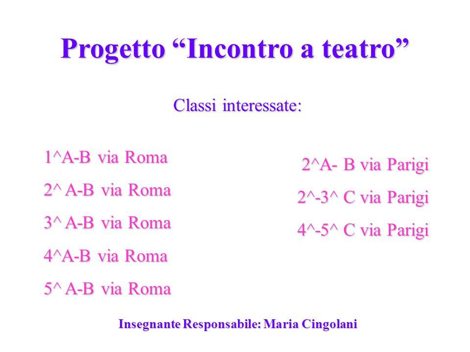 Progetto Incontro a teatro 1^A-B via Roma 2^ A-B via Roma 3^ A-B via Roma 4^A-B via Roma 5^ A-B via Roma 2^A- B via Parigi 2^-3^ C via Parigi 4^-5^ C