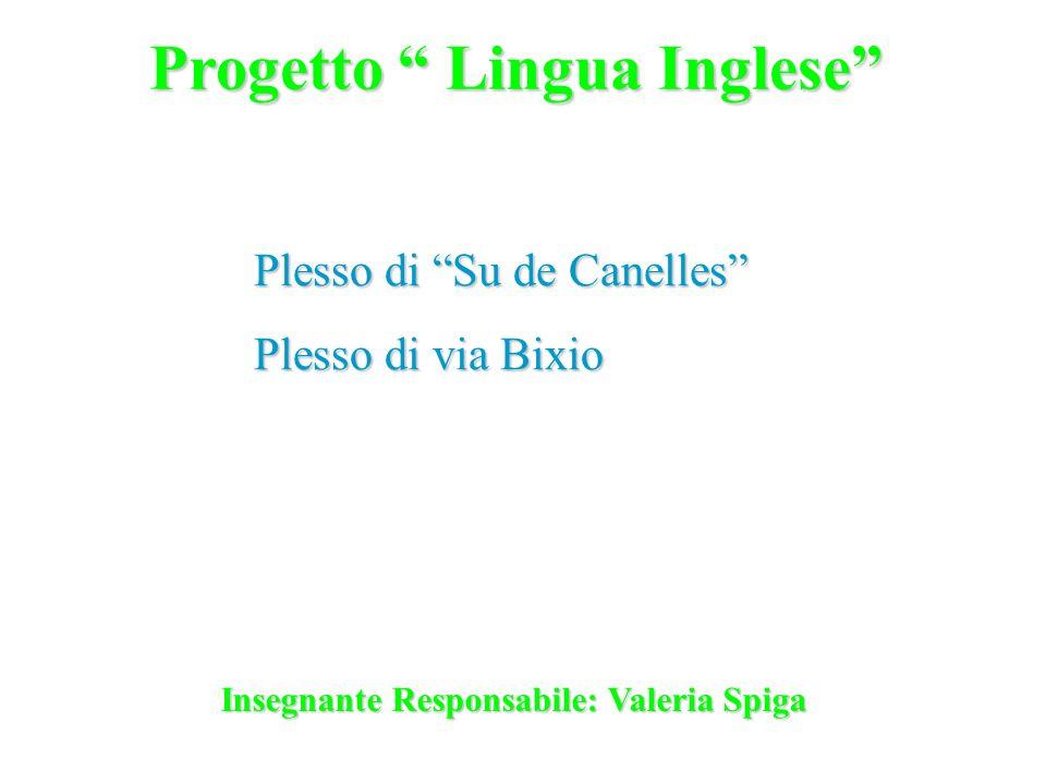 Progetto Lingua Inglese Plesso di Su de Canelles Plesso di via Bixio Insegnante Responsabile: Valeria Spiga