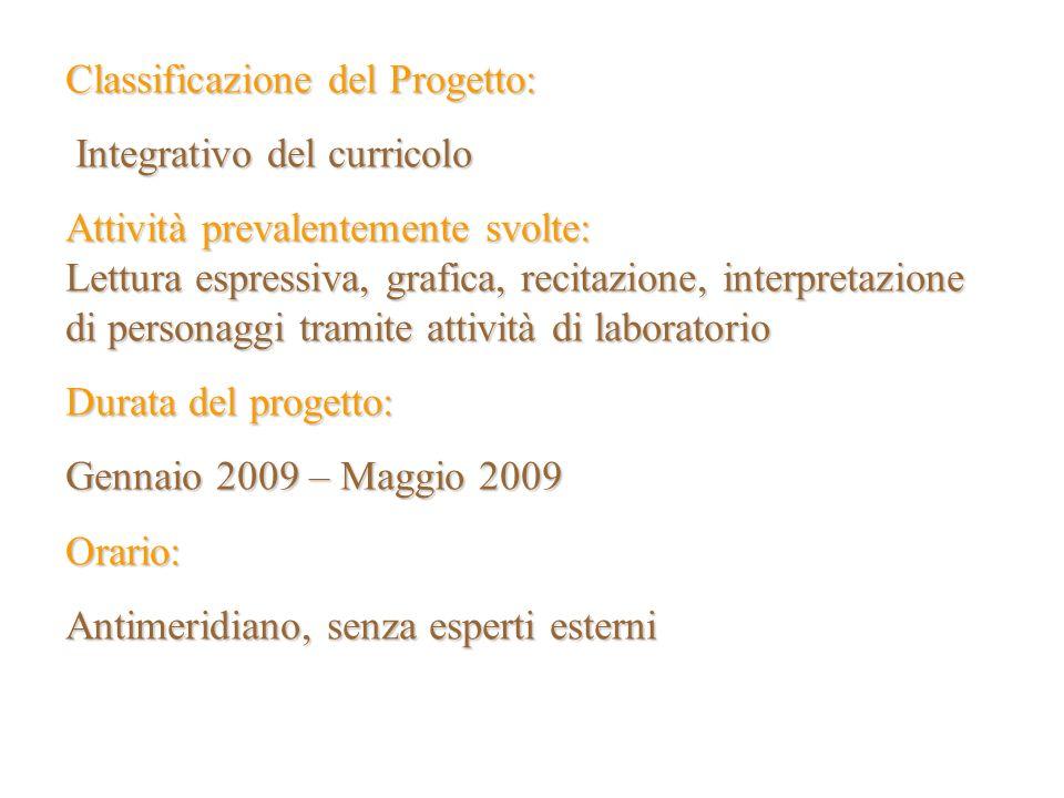 Classificazione del Progetto: Integrativo del curricolo Integrativo del curricolo Attività prevalentemente svolte: Lettura espressiva, grafica, recita