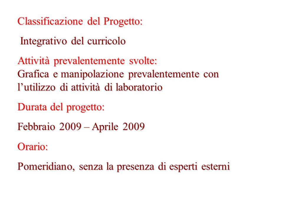 Classificazione del Progetto: Integrativo del curricolo Integrativo del curricolo Attività prevalentemente svolte: Grafica e manipolazione prevalentem