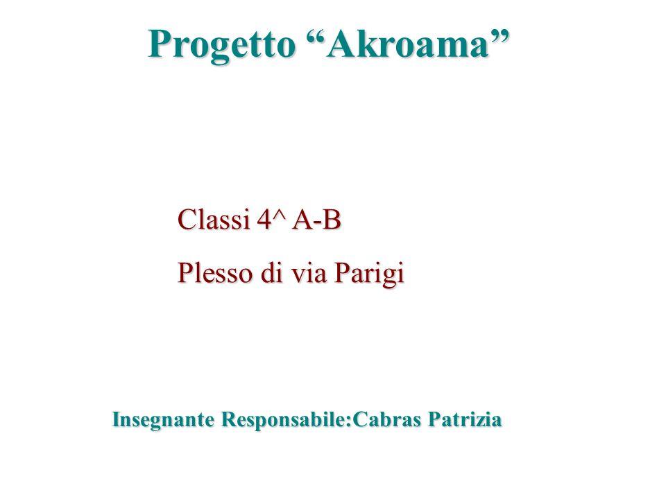 Progetto Akroama Classi 4^ A-B Plesso di via Parigi Insegnante Responsabile:Cabras Patrizia