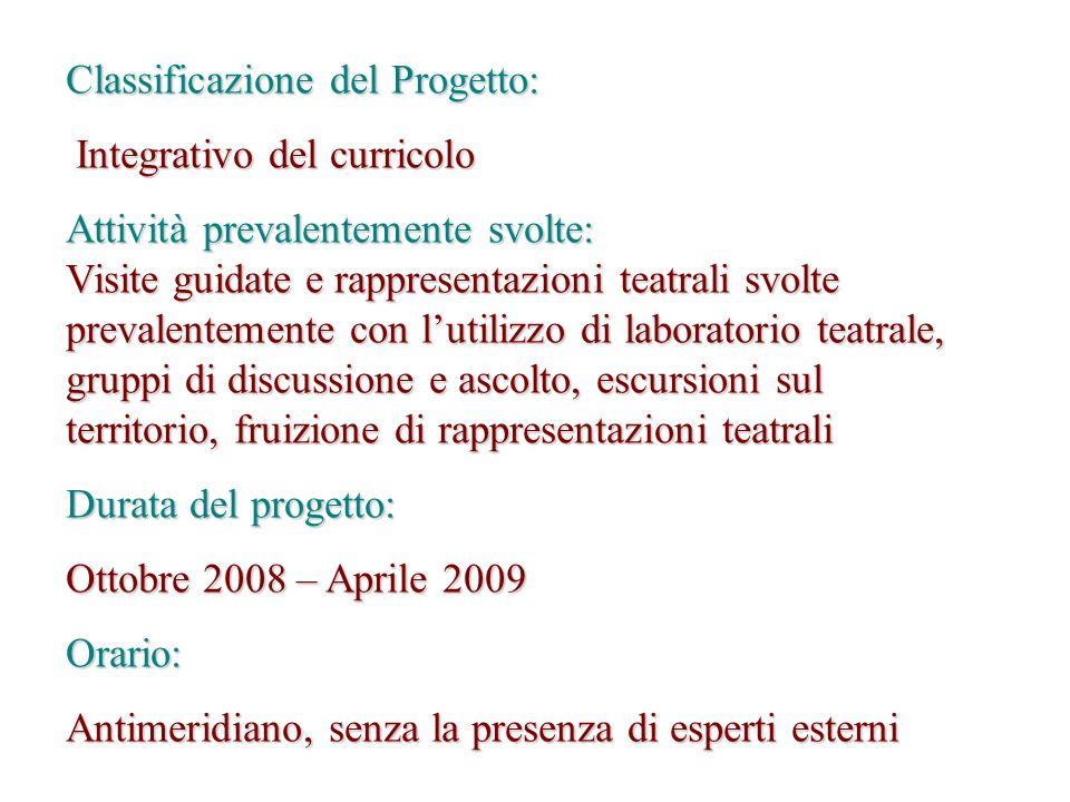 Classificazione del Progetto: Integrativo del curricolo Integrativo del curricolo Attività prevalentemente svolte: Visite guidate e rappresentazioni t