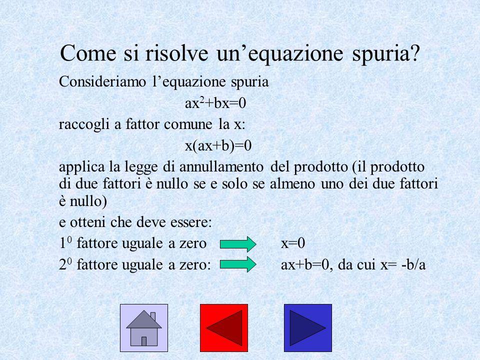 Come si risolve unequazione spuria? Consideriamo lequazione spuria ax 2 +bx=0 raccogli a fattor comune la x: x(ax+b)=0 applica la legge di annullament