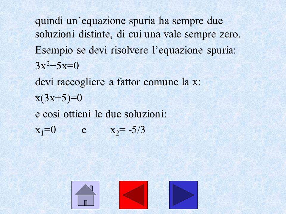 quindi unequazione spuria ha sempre due soluzioni distinte, di cui una vale sempre zero. Esempio se devi risolvere lequazione spuria: 3x 2 +5x=0 devi