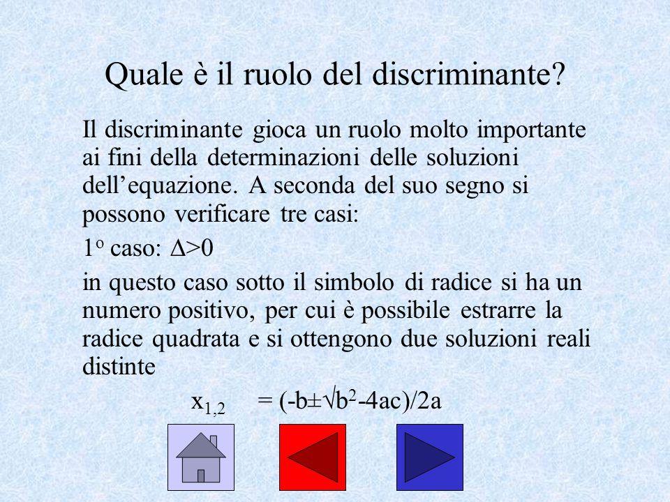 Quale è il ruolo del discriminante? Il discriminante gioca un ruolo molto importante ai fini della determinazioni delle soluzioni dellequazione. A sec