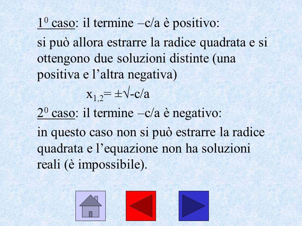 Ad esempio considera lequazione: 4x 2 -16=0 isola il termine x 2 : 4x 2 = 16 dividi tutto per 4 e ottieni: x 2 = 4 e quindi estrai la radice quadrata di +4 (ricordati che ci sono due soluzioni di segno opposto) x 1,2 = ± 2