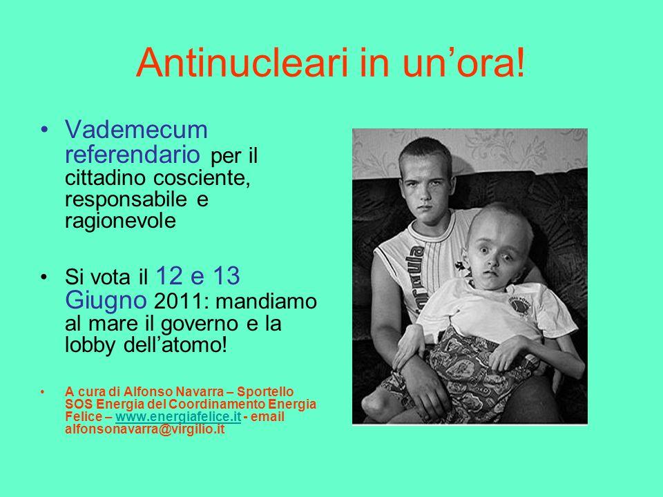 Antinucleari in unora! Vademecum referendario per il cittadino cosciente, responsabile e ragionevole Si vota il 12 e 13 Giugno 2011: mandiamo al mare