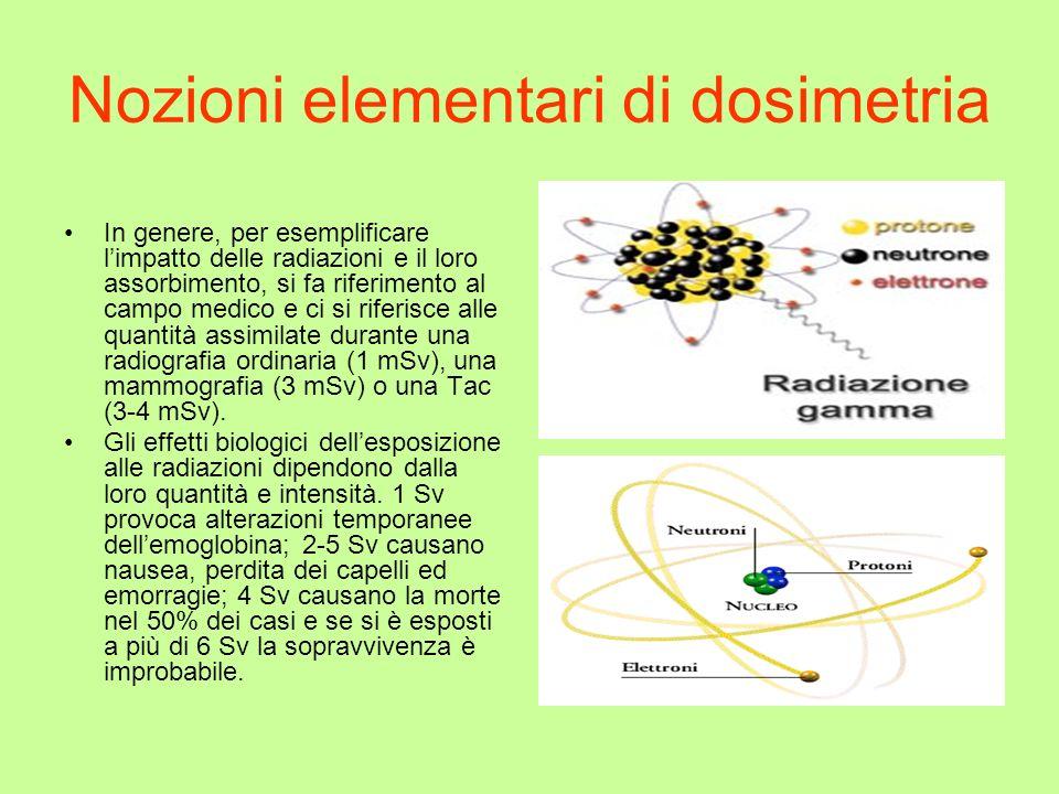 Nozioni elementari di dosimetria In genere, per esemplificare limpatto delle radiazioni e il loro assorbimento, si fa riferimento al campo medico e ci