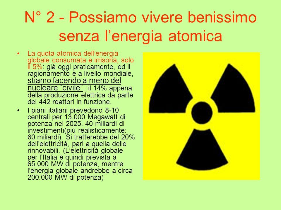 N° 2 - Possiamo vivere benissimo senza lenergia atomica La quota atomica dellenergia globale consumata è irrisoria, solo il 5%: già oggi praticamente,