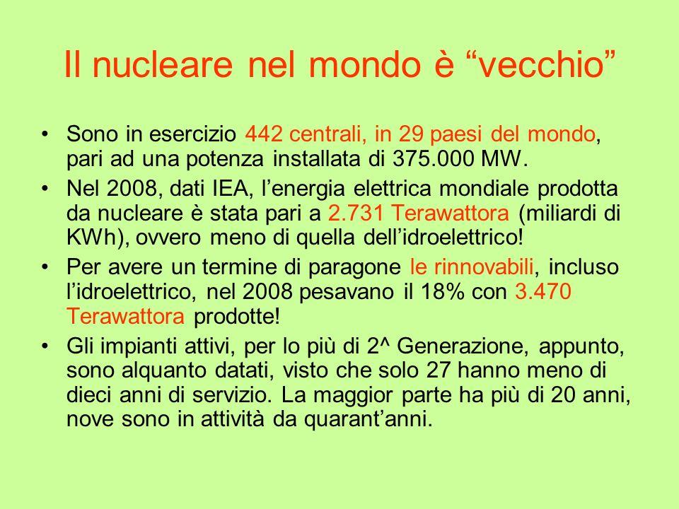 Il nucleare nel mondo è vecchio Sono in esercizio 442 centrali, in 29 paesi del mondo, pari ad una potenza installata di 375.000 MW. Nel 2008, dati IE