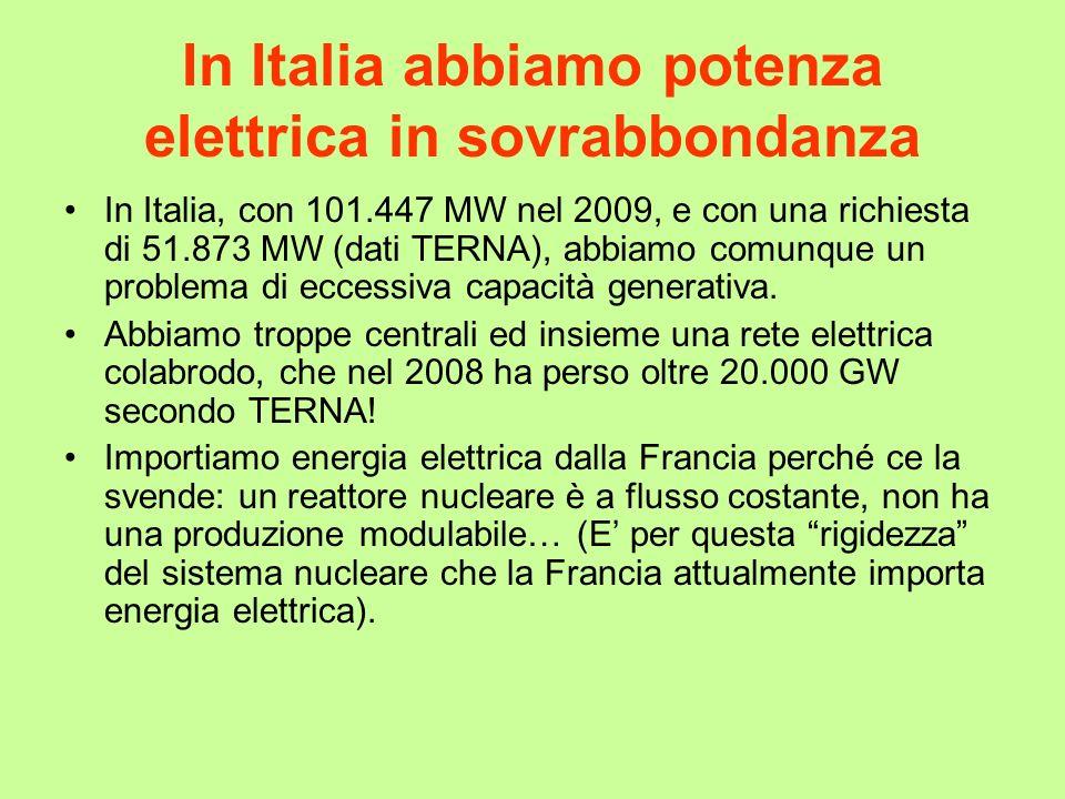 In Italia abbiamo potenza elettrica in sovrabbondanza In Italia, con 101.447 MW nel 2009, e con una richiesta di 51.873 MW (dati TERNA), abbiamo comun