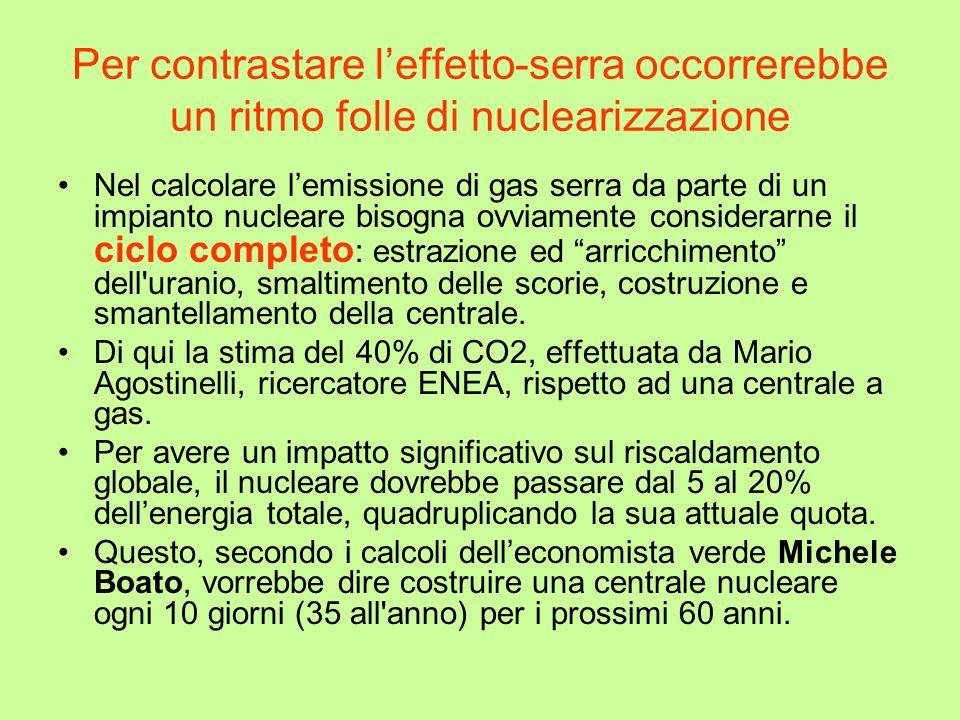 Per contrastare leffetto-serra occorrerebbe un ritmo folle di nuclearizzazione Nel calcolare lemissione di gas serra da parte di un impianto nucleare