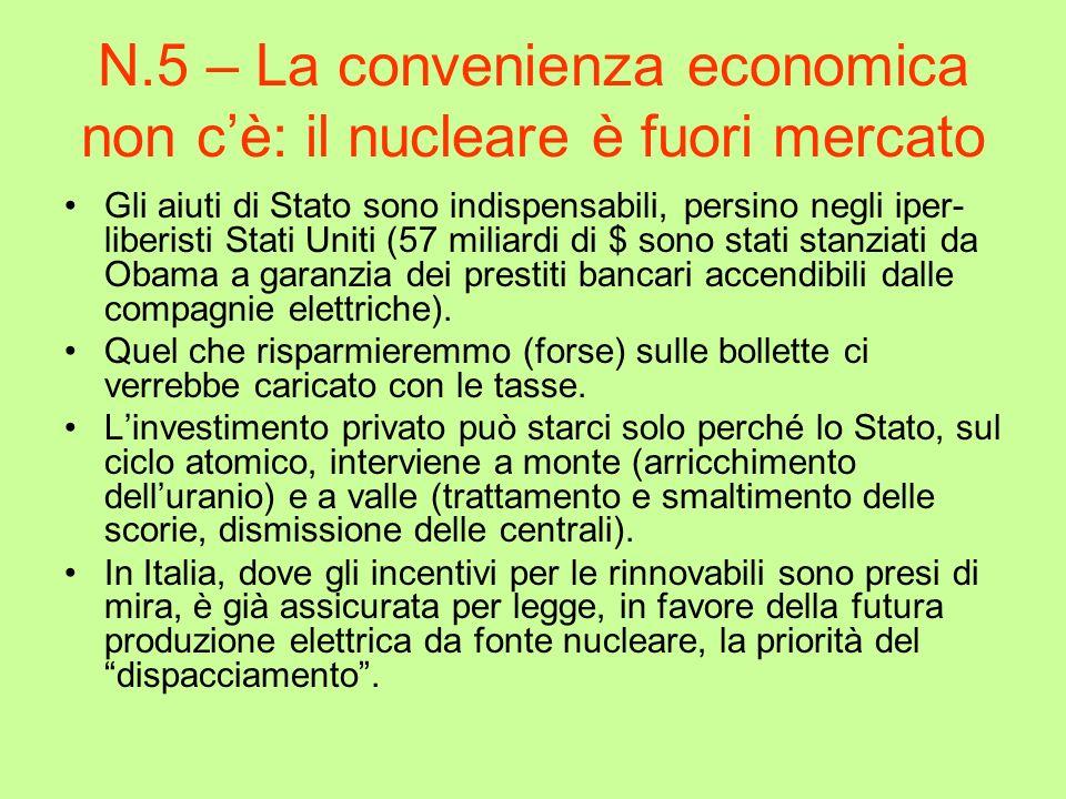 N.5 – La convenienza economica non cè: il nucleare è fuori mercato Gli aiuti di Stato sono indispensabili, persino negli iper- liberisti Stati Uniti (