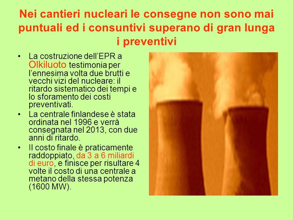 Nei cantieri nucleari le consegne non sono mai puntuali ed i consuntivi superano di gran lunga i preventivi La costruzione dellEPR a Olkiluoto testimo