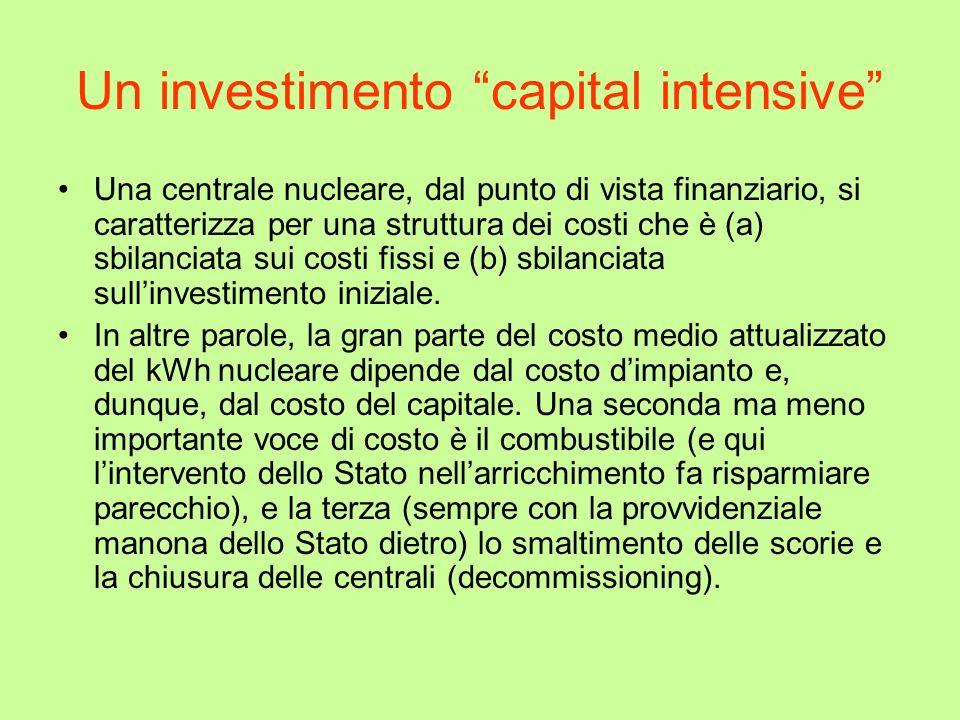 Un investimento capital intensive Una centrale nucleare, dal punto di vista finanziario, si caratterizza per una struttura dei costi che è (a) sbilanc