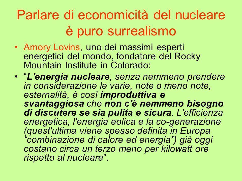 Parlare di economicità del nucleare è puro surrealismo Amory Lovins, uno dei massimi esperti energetici del mondo, fondatore del Rocky Mountain Instit