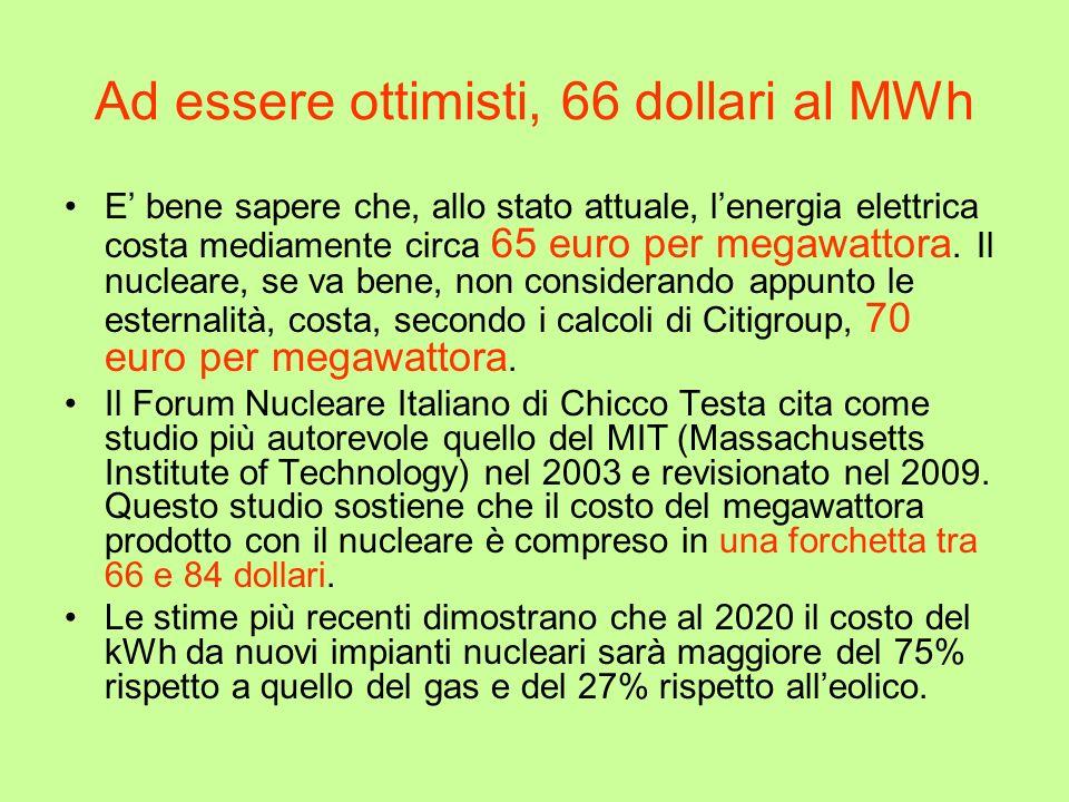 Ad essere ottimisti, 66 dollari al MWh E bene sapere che, allo stato attuale, lenergia elettrica costa mediamente circa 65 euro per megawattora. Il nu