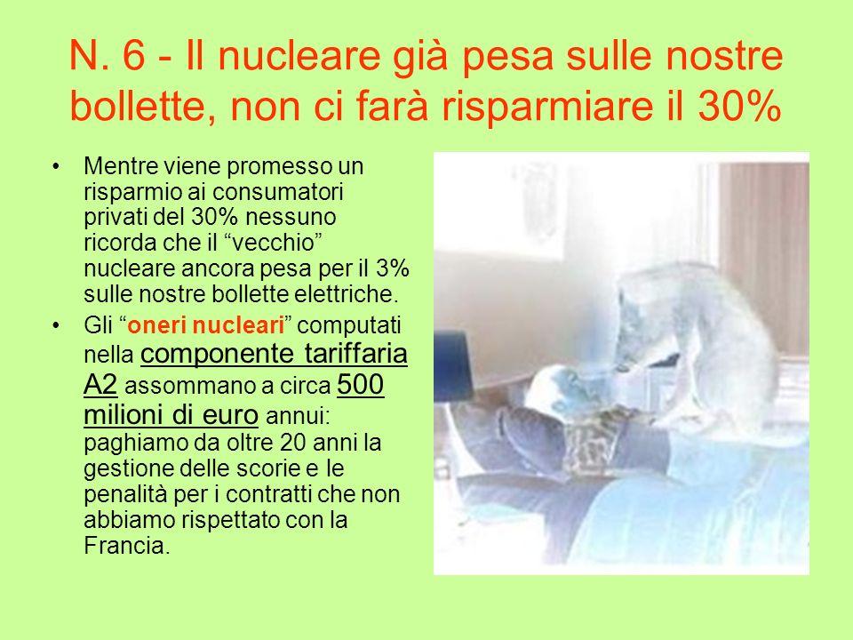 N. 6 - Il nucleare già pesa sulle nostre bollette, non ci farà risparmiare il 30% Mentre viene promesso un risparmio ai consumatori privati del 30% ne