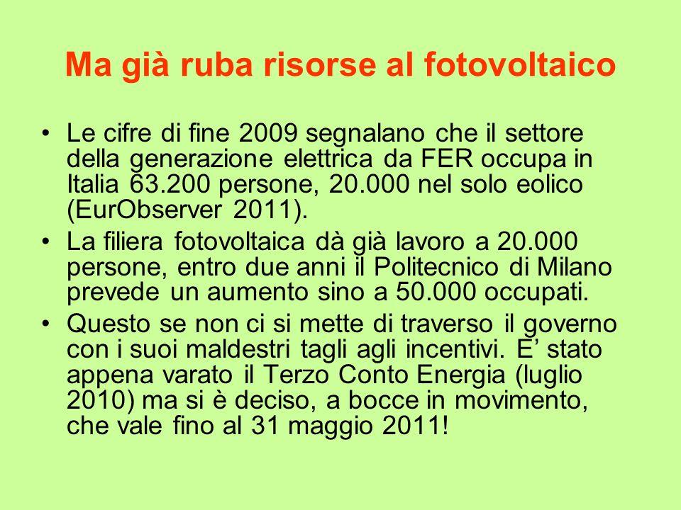 Ma già ruba risorse al fotovoltaico Le cifre di fine 2009 segnalano che il settore della generazione elettrica da FER occupa in Italia 63.200 persone,