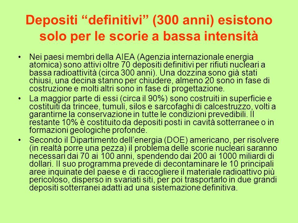 Depositi definitivi (300 anni) esistono solo per le scorie a bassa intensità Nei paesi membri della AIEA (Agenzia internazionale energia atomica) sono