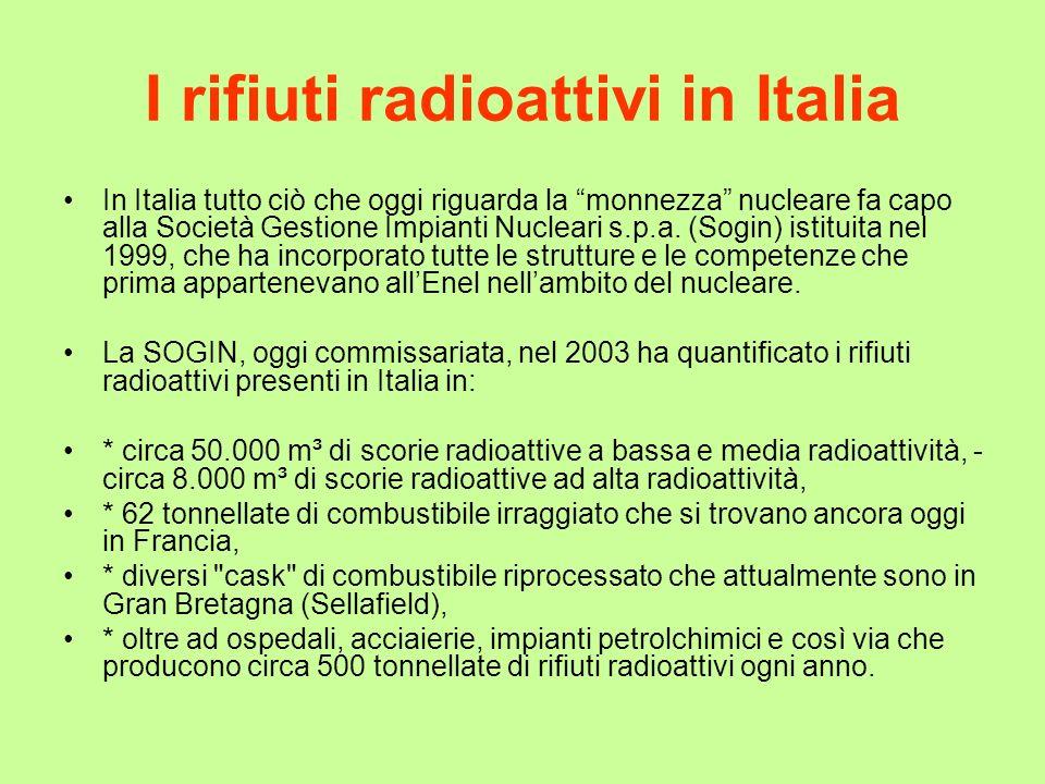 I rifiuti radioattivi in Italia In Italia tutto ciò che oggi riguarda la monnezza nucleare fa capo alla Società Gestione Impianti Nucleari s.p.a. (Sog