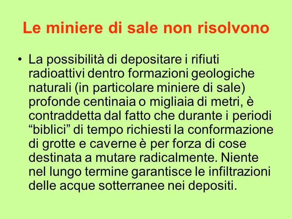 Le miniere di sale non risolvono La possibilità di depositare i rifiuti radioattivi dentro formazioni geologiche naturali (in particolare miniere di s