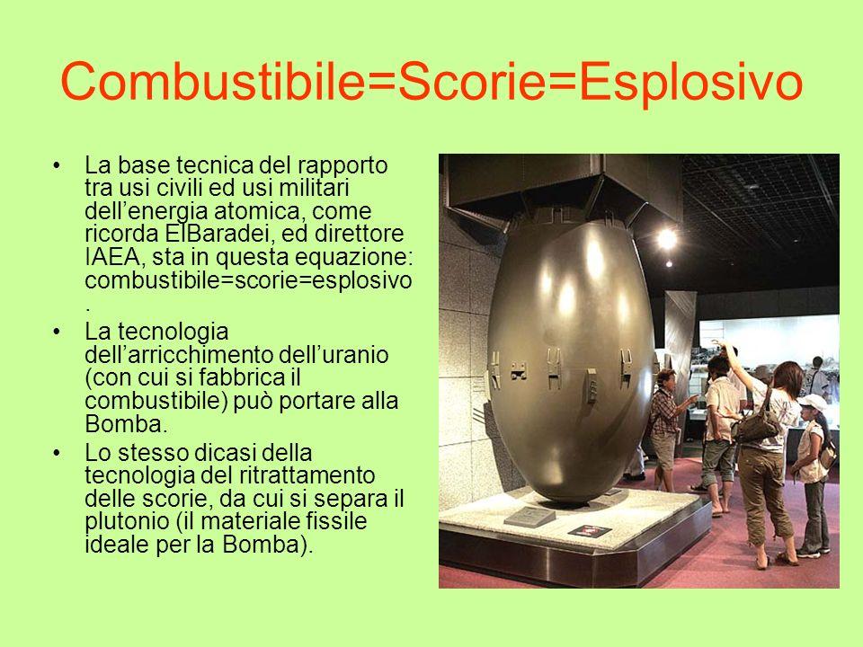 Combustibile=Scorie=Esplosivo La base tecnica del rapporto tra usi civili ed usi militari dellenergia atomica, come ricorda ElBaradei, ed direttore IA