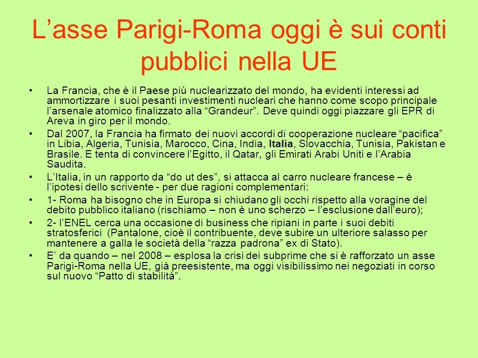 Lasse Parigi-Roma oggi è sui conti pubblici nella UE La Francia, che è il Paese più nuclearizzato del mondo, ha evidenti interessi ad ammortizzare i s