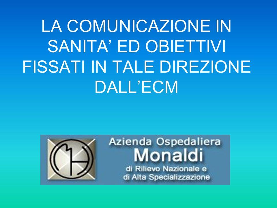 LA COMUNICAZIONE IN SANITA ED OBIETTIVI FISSATI IN TALE DIREZIONE DALLECM