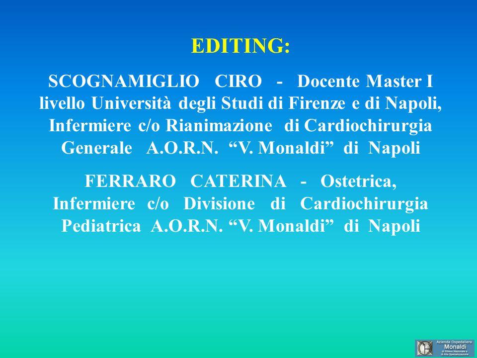EDITING: SCOGNAMIGLIO CIRO - Docente Master I livello Università degli Studi di Firenze e di Napoli, Infermiere c/o Rianimazione di Cardiochirurgia Ge