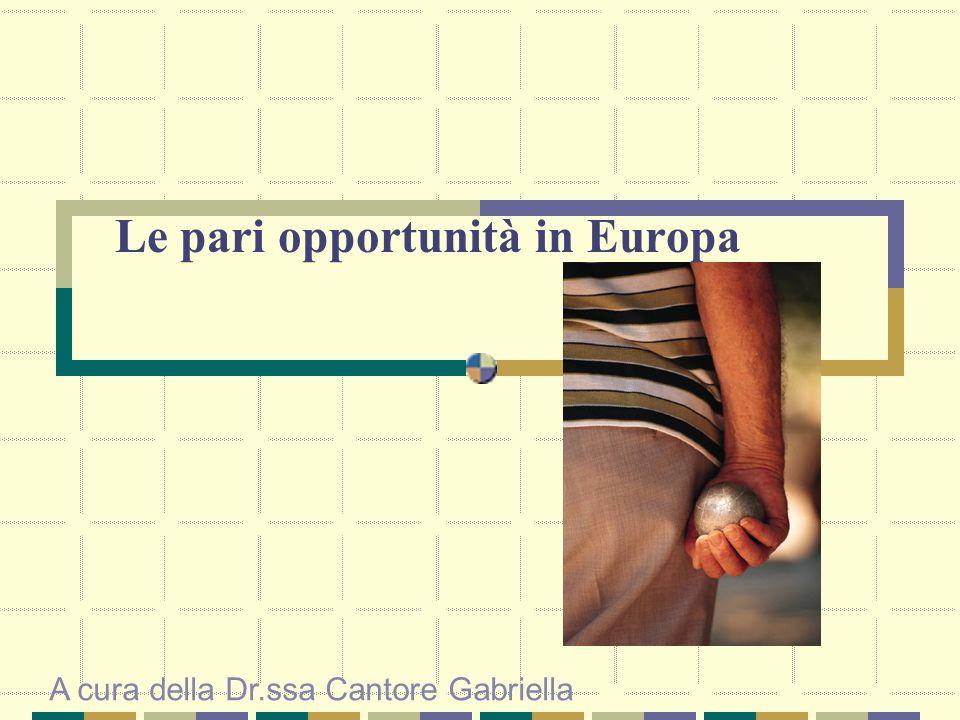 Le pari opportunità in Europa A cura della Dr.ssa Cantore Gabriella