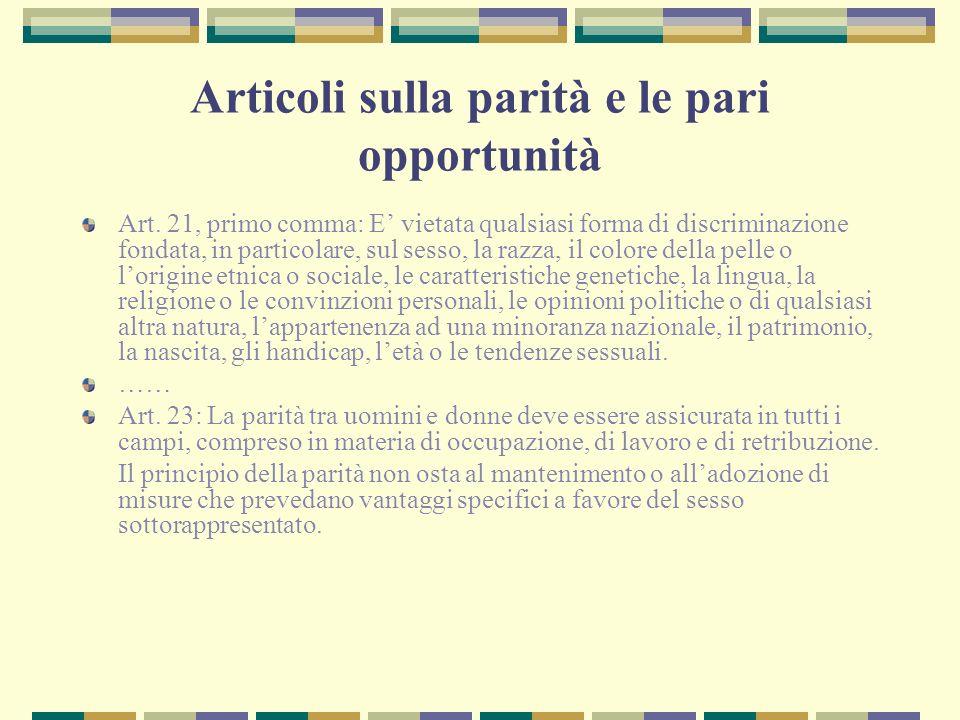Articoli sulla parità e le pari opportunità Art. 21, primo comma: E vietata qualsiasi forma di discriminazione fondata, in particolare, sul sesso, la