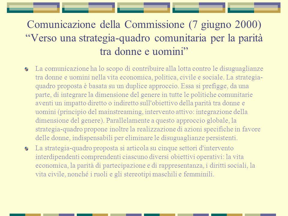 Comunicazione della Commissione (7 giugno 2000) Verso una strategia-quadro comunitaria per la parità tra donne e uomini La comunicazione ha lo scopo d