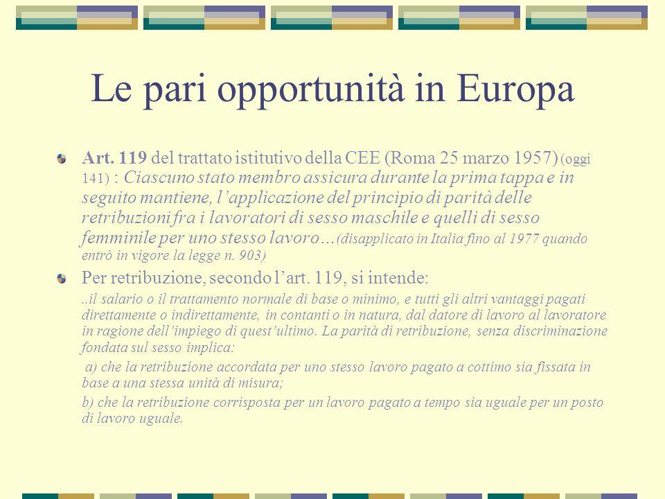 Le pari opportunità in Europa Art. 119 del trattato istitutivo della CEE (Roma 25 marzo 1957) (oggi 141) : Ciascuno stato membro assicura durante la p