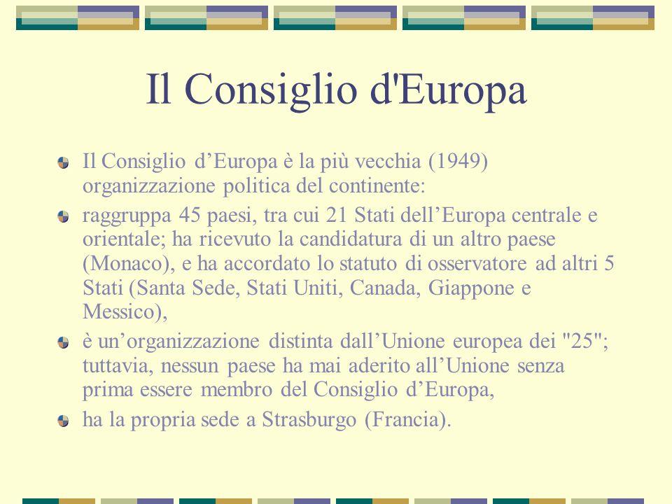 Il Consiglio d'Europa Il Consiglio dEuropa è la più vecchia (1949) organizzazione politica del continente: raggruppa 45 paesi, tra cui 21 Stati dellEu