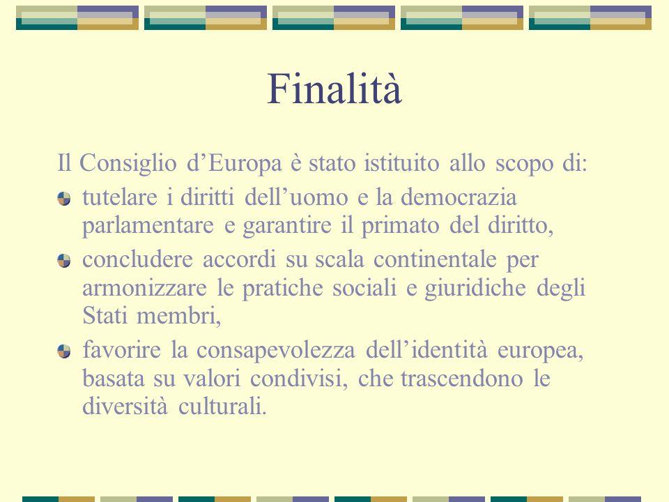Finalità Il Consiglio dEuropa è stato istituito allo scopo di: tutelare i diritti delluomo e la democrazia parlamentare e garantire il primato del dir