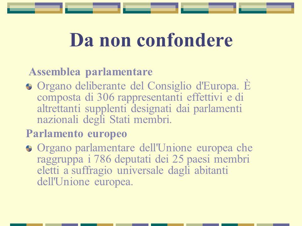 Da non confondere Assemblea parlamentare Organo deliberante del Consiglio d'Europa. È composta di 306 rappresentanti effettivi e di altrettanti supple